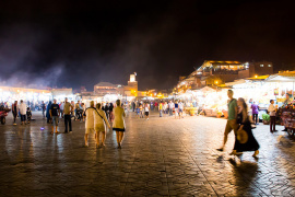 The hustle and bustle of Jemaa el-Fnaa square